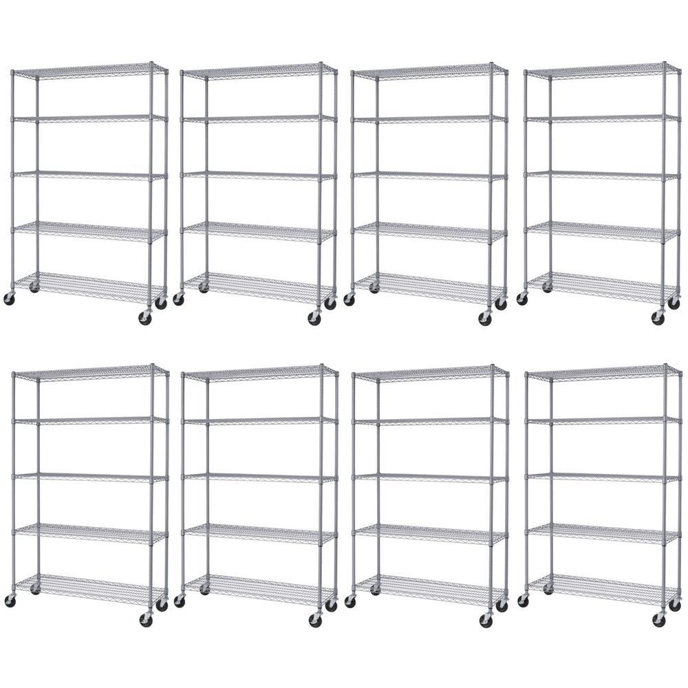 18 in. x 48 in. x 77 in, Gray 5-Tier Outdoor Shelving Rack (8-Pack)