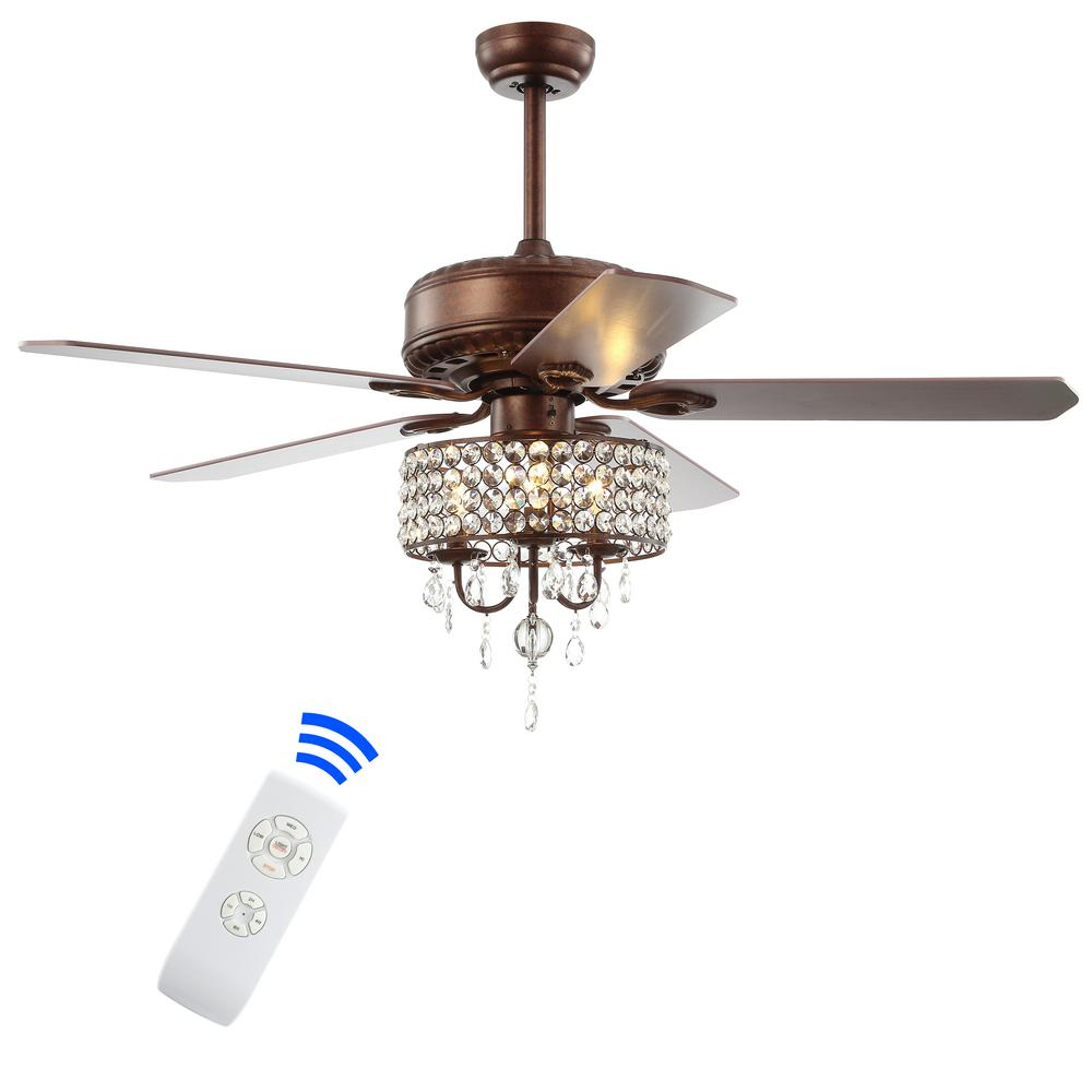 Jonathan Y Becky 52 In Oil Rubbed Bronze 3 Light Crystal Led Chandelier Ceiling Fan With Light And Remote