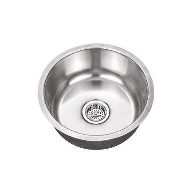 Undermount Stainless Steel 17.125 in. x 17.125 in. Single Bowl Round Bar Sink