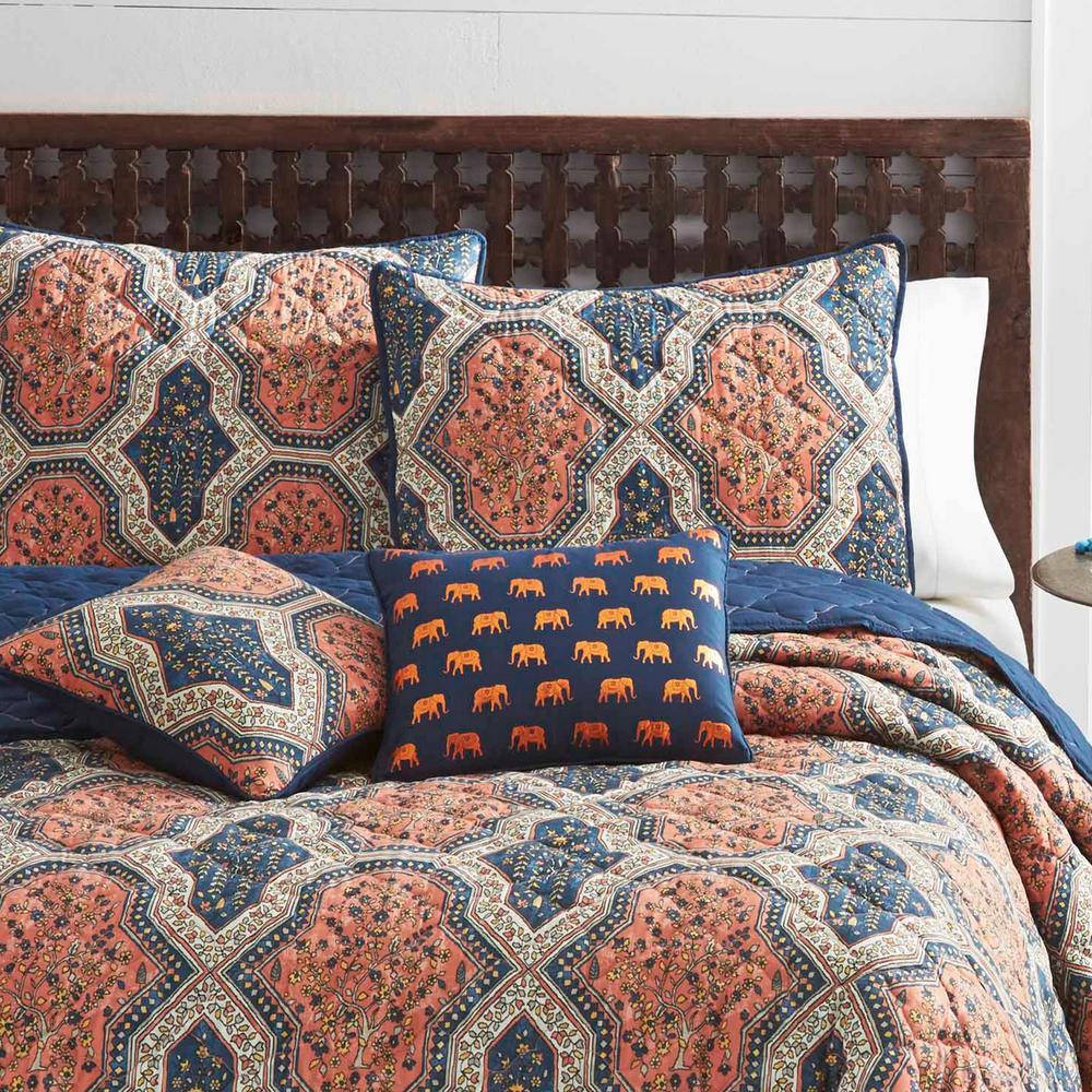 Rhea Orange 3-Piece King Quilt Set
