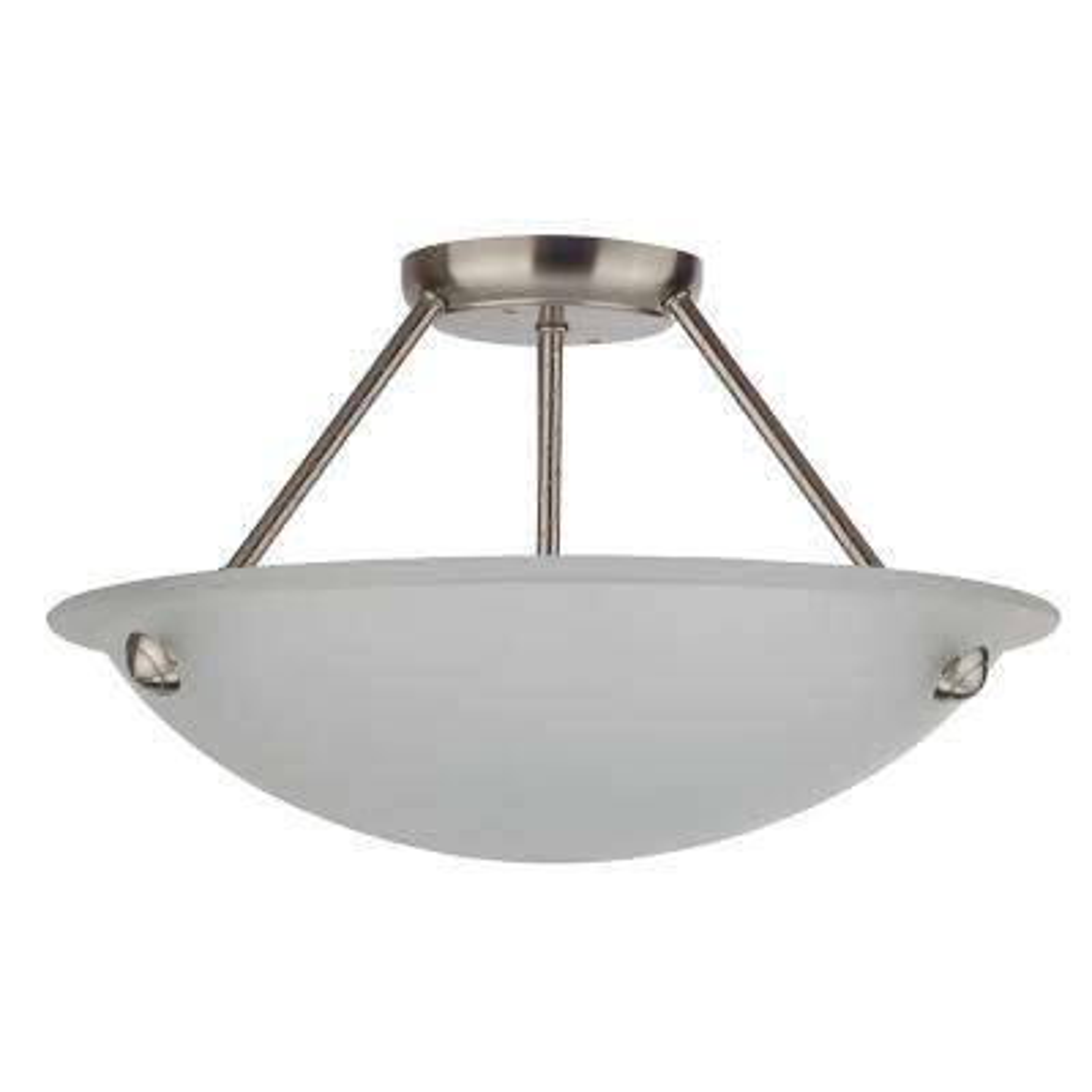 3-Light Satin Steel Semi-Flushmount
