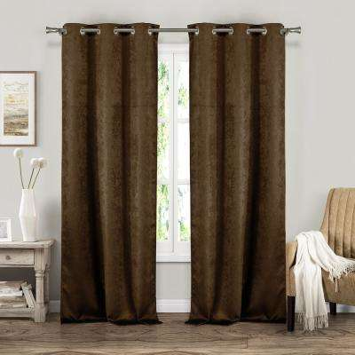 Suzanne 37 in. W x 84 in. L Polyester Window Panel in Chocolate