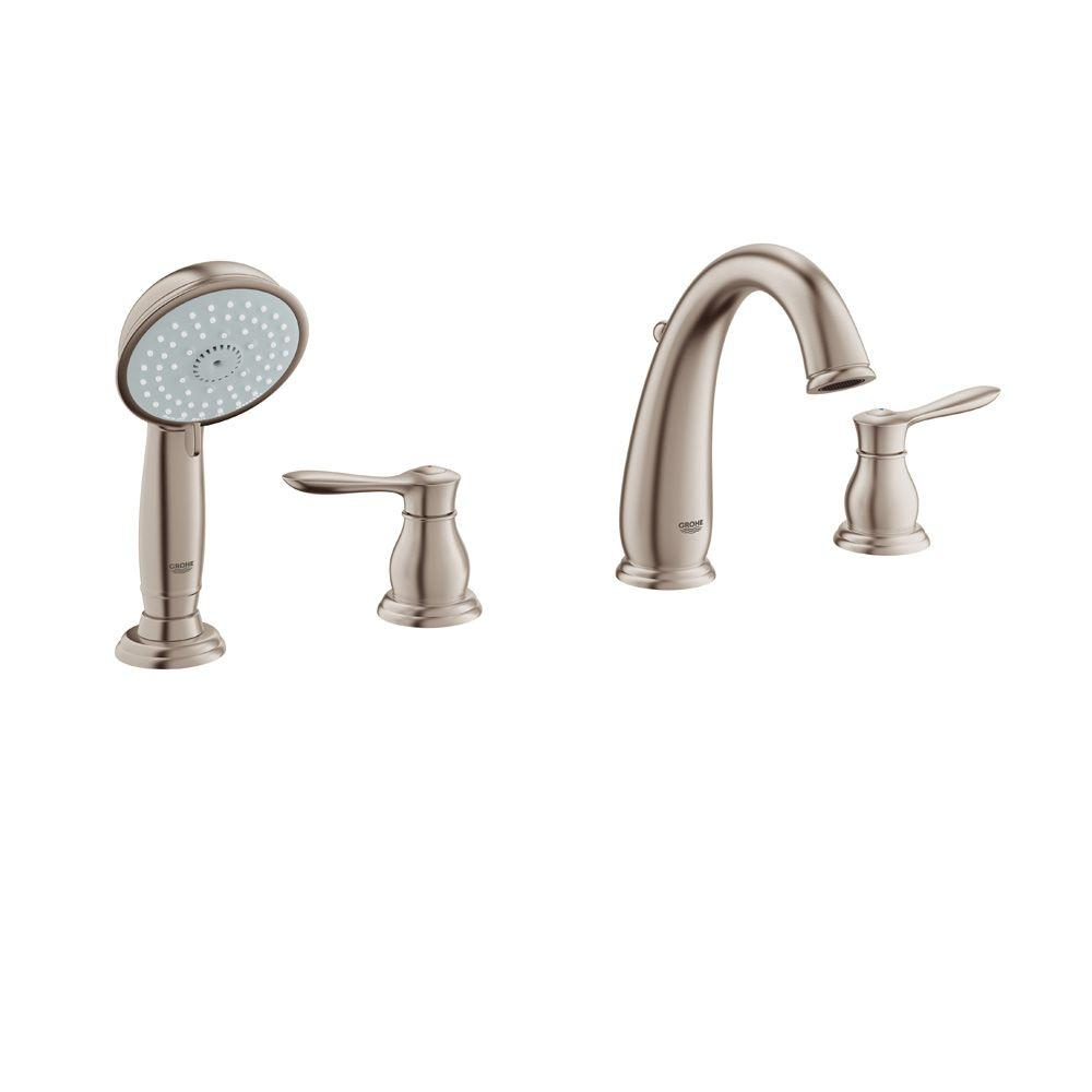 GROHE Parkfield 8-3/16 in. 4-Hole 2-Handle Deck-Mount Roman Tub Faucet with Personalized Hand Shower in StarLight Chrome