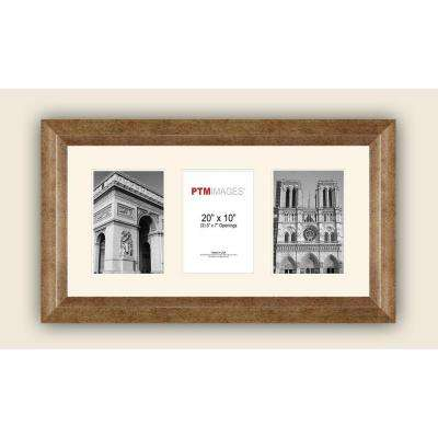 3-Opening Horizontal 5 in. x 7 in. White Matted Champagne Photo Collage Frame