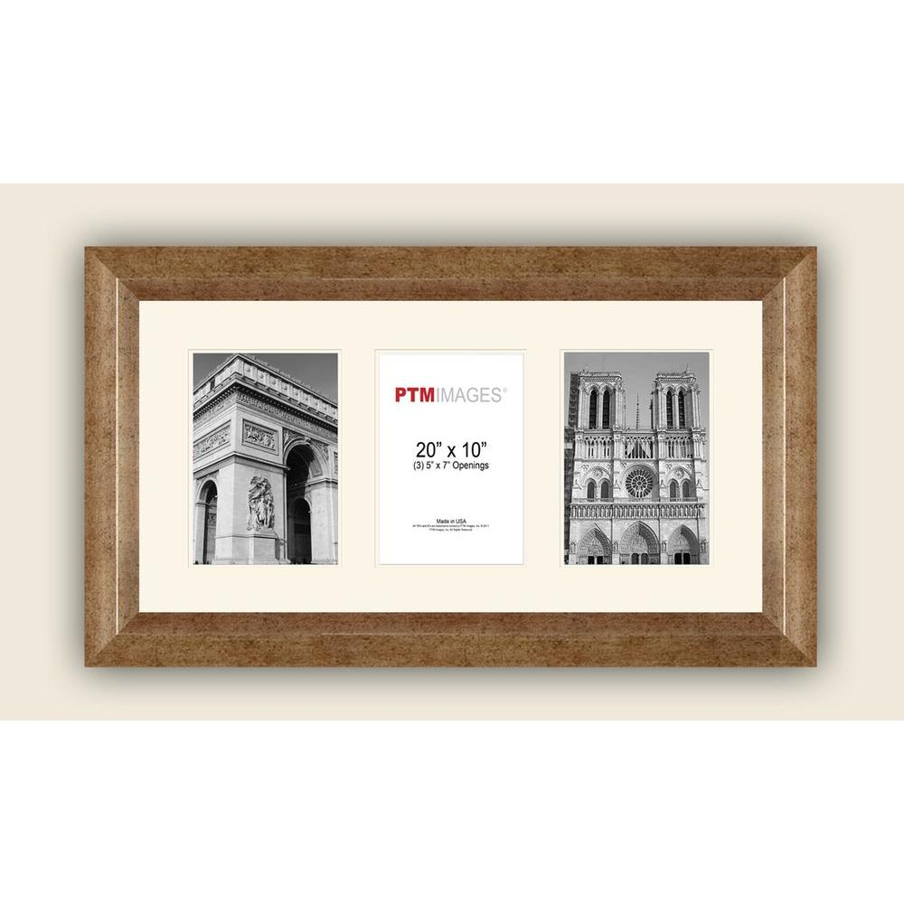 PTM Images 3-Opening Horizontal 5 in. x 7 in. White Matted Champagne ...