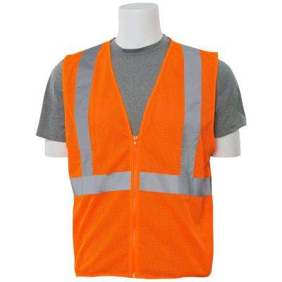 S363 LG Hi Viz Orange Economy Poly Mesh Safety Vest