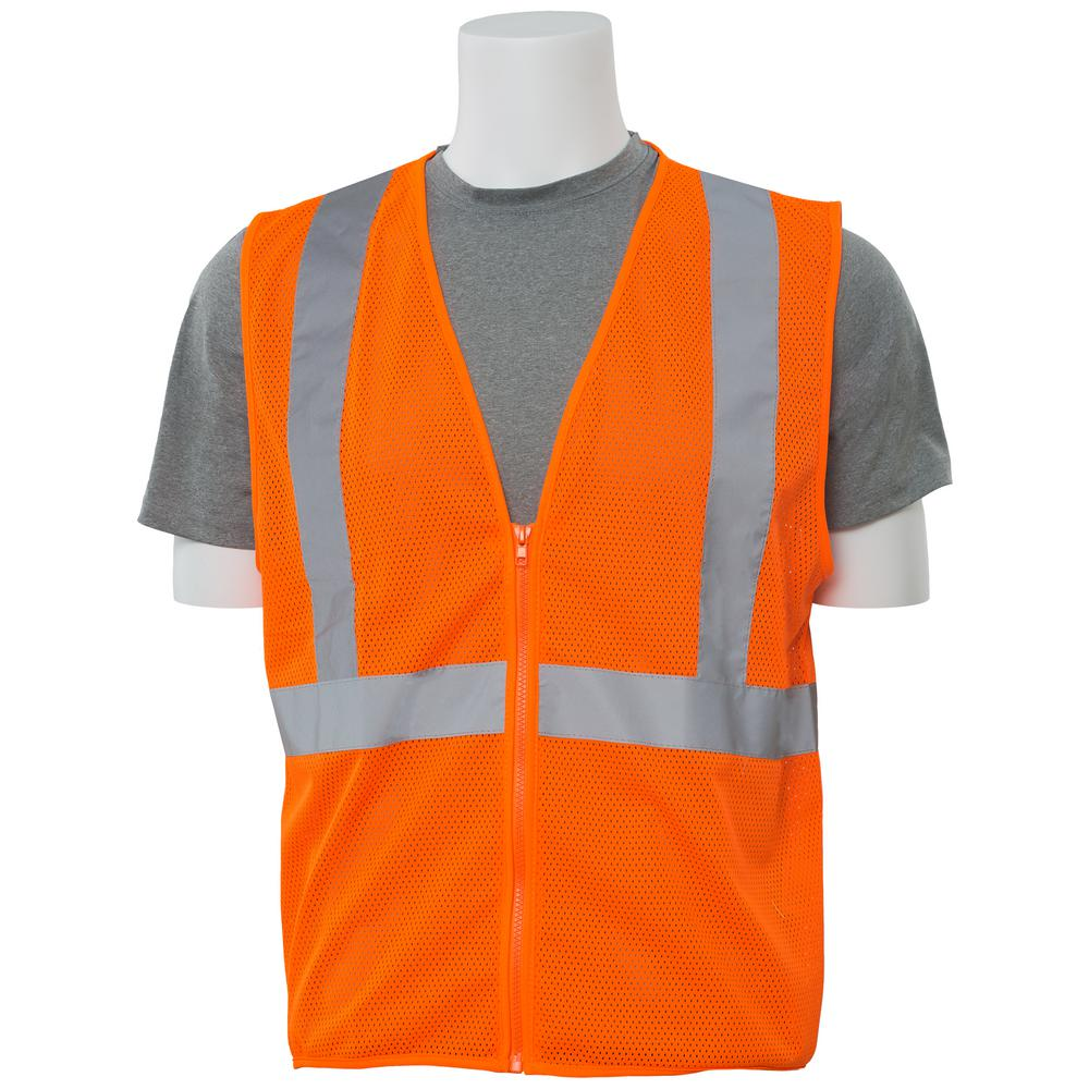 S363 LG Hi Viz Orange Economy Poly Mesh Safety Vest