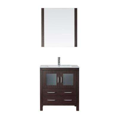 Dior 30 in. W Bath Vanity in Espresso with Ceramic Vanity Top in White with Square Basin and Mirror and Faucet