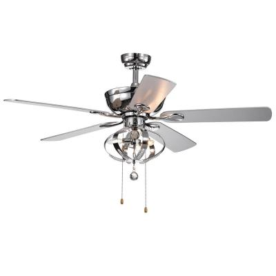 Tatiana 52 in. Indoor Chrome Finish Hand Pull Chain Ceiling Fan with Light Kit