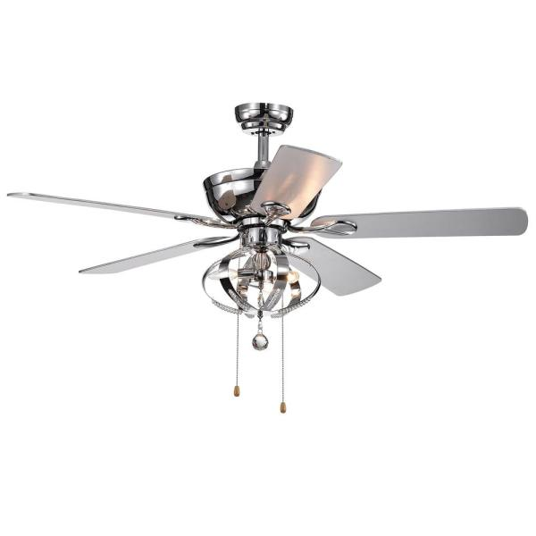 Warehouse Of Tiffany Deidor 5 Blade 52 In Indoor Chrome Hand Pull Chain Ceiling Fan With Light Kit Cfl 8316ch The Home Depot