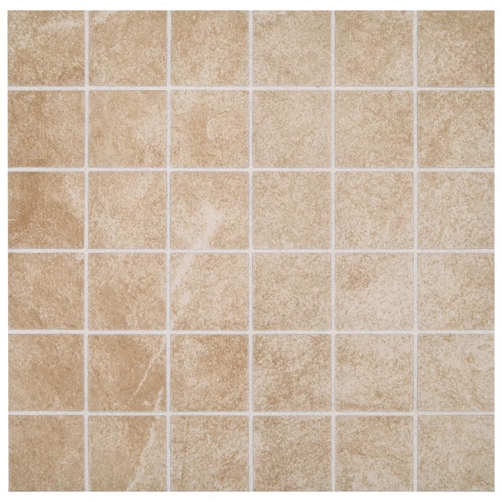 Portland Stone Beige 12 in. x 12 in. x 6.35 mm Ceramic Mosaic Tile ...