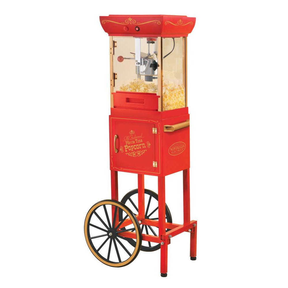 Nostalgia Electrics Vintage Collection 48 in. Old Fashioned Movie Time Popcorn Cart in Red-DISCONTINUED