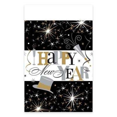 New Year's 84 in. Elegant Celebration Plastic Tablecover (3-count, 2-pack)