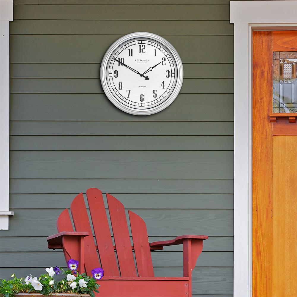 Equity by La Crosse 16 in. Indoor/Outdoor Silver Quartz Wall Clock