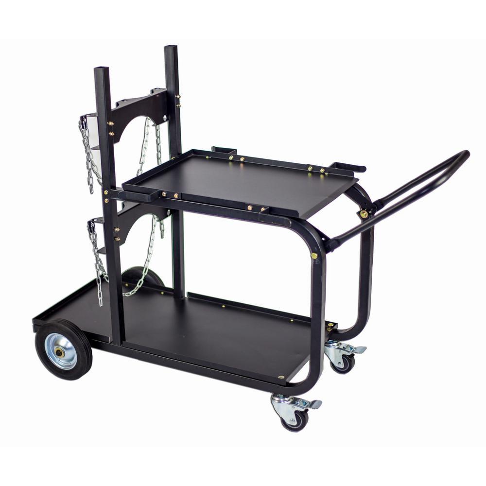 Steel Single/Dual Bottle Heavy Duty Universal Welding Cart with Fold Down Handle by