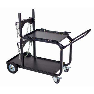 Steel Single/Dual Bottle Heavy Duty Universal Welding Cart with Fold Down Handle