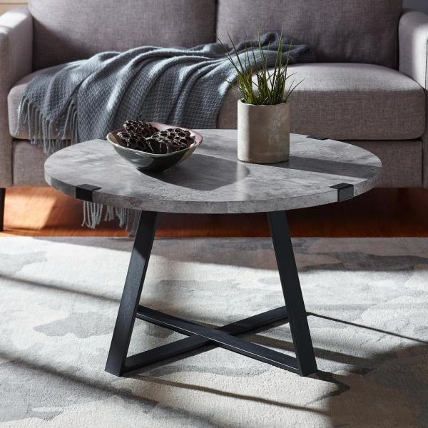 30 in. Dark Concrete Urban Industrial Wood and Metal Wrap Round Coffee Table