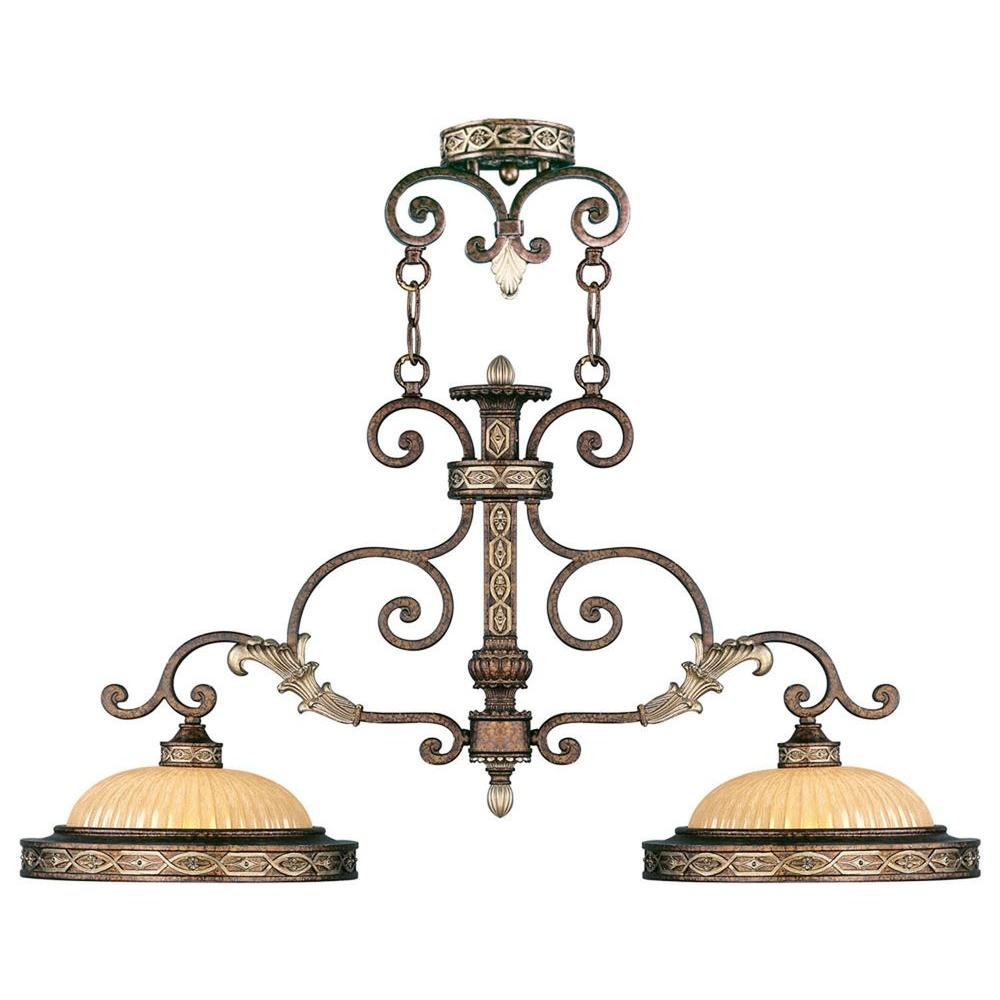 Livex Lighting Providence 2-Light Palatial Bronze with Gilded Accents Incandescent Island Ceiling Pendant