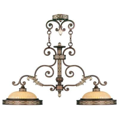 Providence 2-Light Palatial Bronze with Gilded Accents Incandescent Island Ceiling Pendant