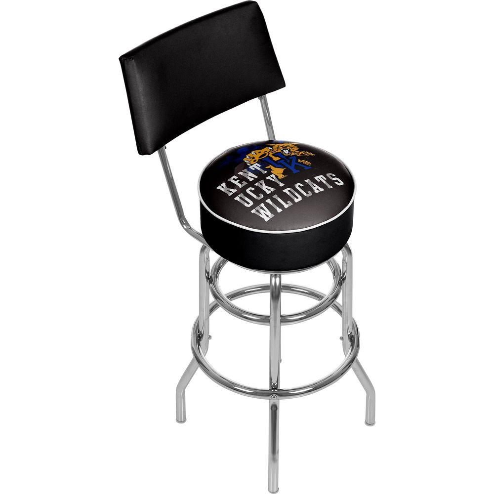 Trademark Global University of Kentucky Smoke 31 in. Chrome Padded Bar Stool, Black With this festive Trademark Global University of Kentucky Smoke Bar Stool, you can decorate your home turf and boast your team spirit. This stool features a low back, easily sliding completely under the counter. It has a modern style for a fresh design that will complement your home. It has a swivel mechanism, making it easy to get in and out without needing to slide the stool back. Made from metal, the frame can tolerate frequent use, making it excellent for any home. This stool features a vinyl seat, which resembles the look of leather and is particularly easy to clean. It has a blue cushion, incorporating a cheerful and colorful atmosphere into the room. It has a University of Kentucky logo, making it an ideal choice for sports fanatics. This stool has a foot rest, so you have a place to comfortably put your feet. Color: Black.
