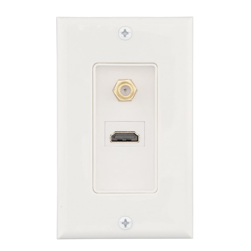Commercial Electric 2-Gang HDMI and Coaxial Wall Plate, White