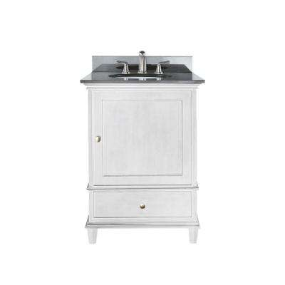 Windsor 25 in. W x 22 in. D x 35 in. H Vanity in White with Granite Vanity Top in Black and White Basin