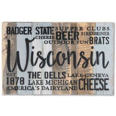 """Wisconsin Est 1878"" Reclaimed Wood Decorative Sign"