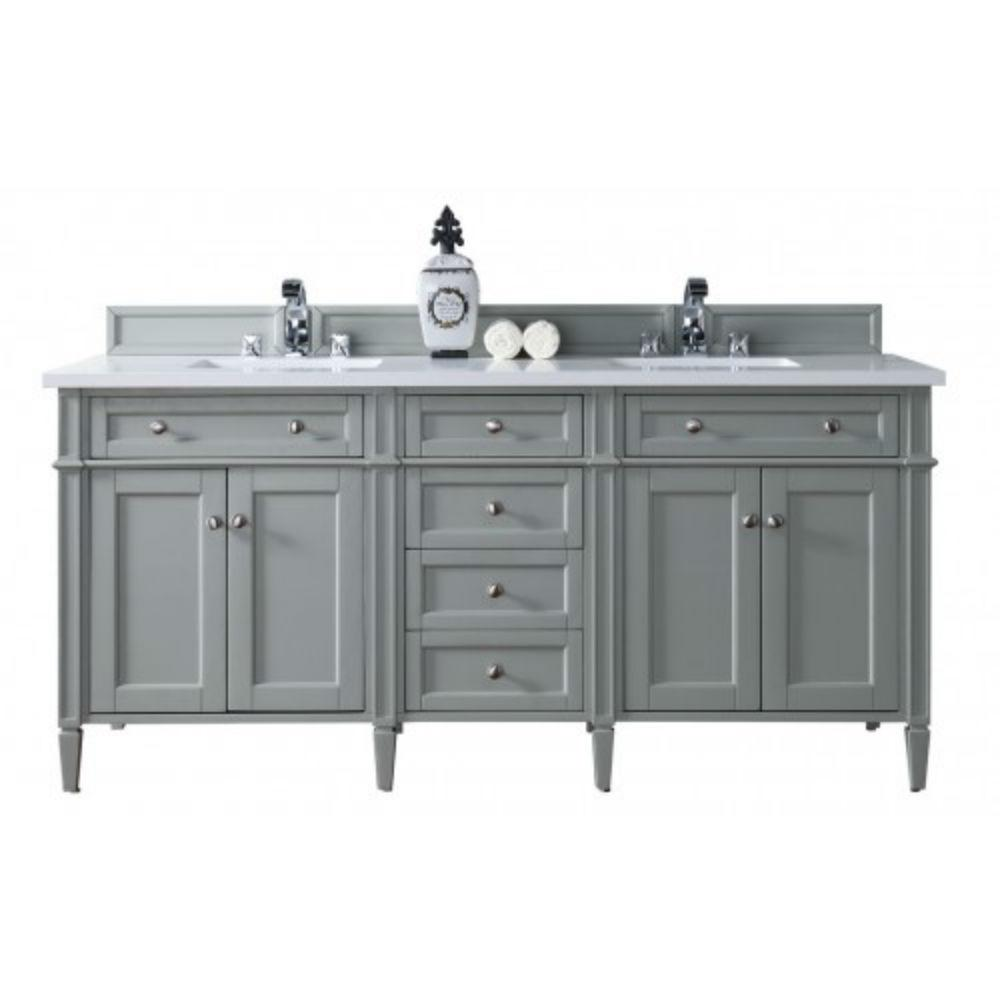 Double Vanity Urban Gray Quartz Vanity Top White Basin