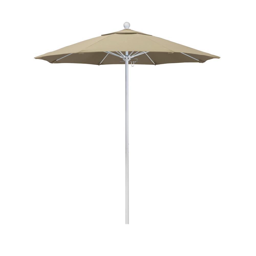 California Umbrella 7.5 ft. Market Matted White Fiberglass Pulley Open Patio Umbrella in Beige Pacifica