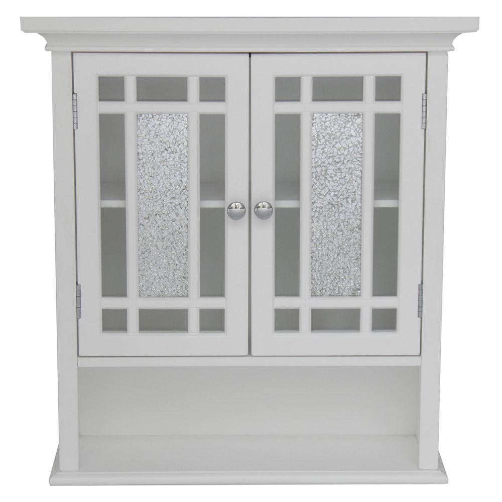 D Bathroom Storage Wall Cabinet With Mosaic Gl In White