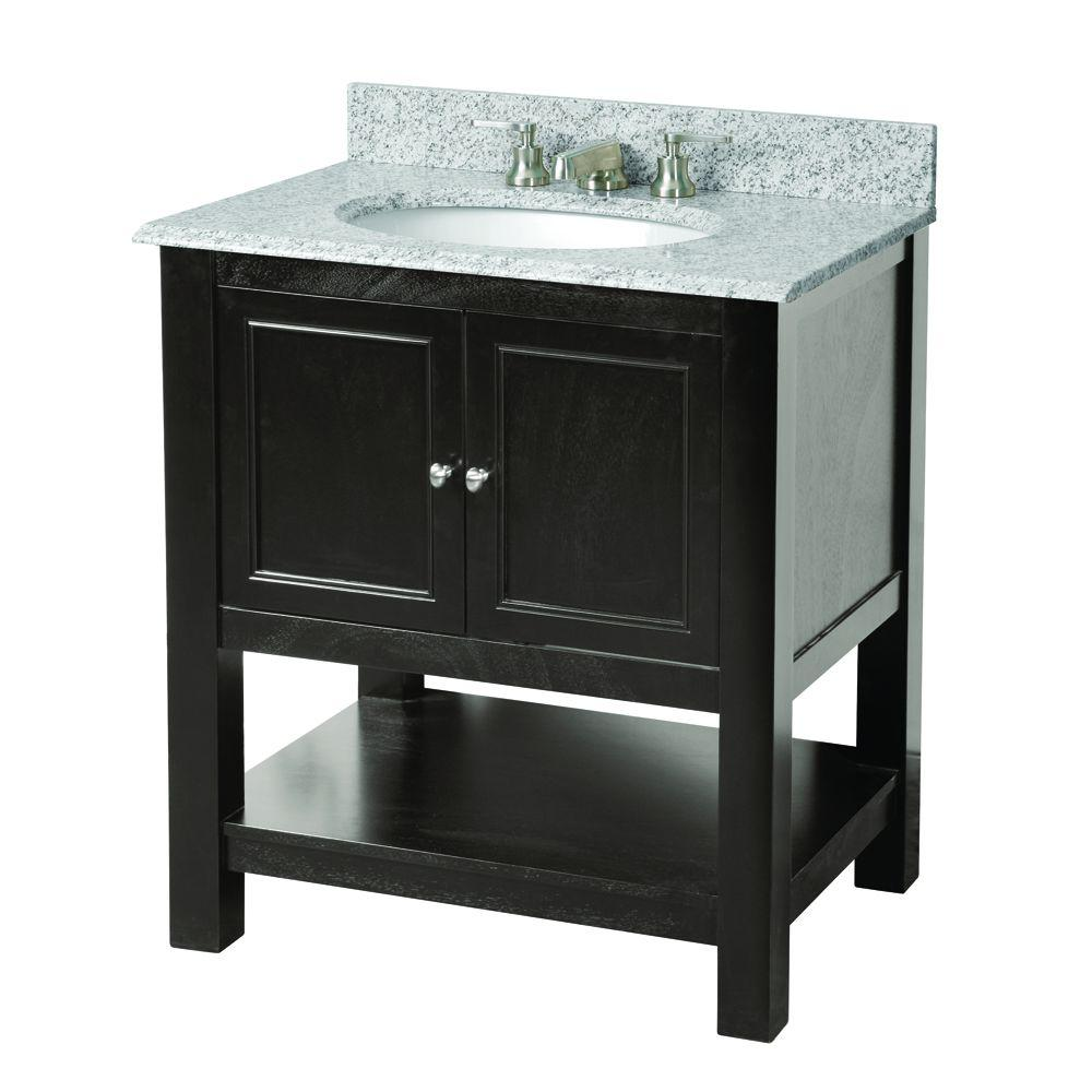 Foremost Gazette 31 in. W x 22 in. D Vanity in Espresso with Granite Vanity Top in Rushmore Grey with White Basin