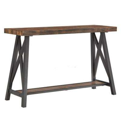 Brown Sofa Table With Shelf