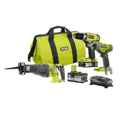 18-Volt ONE+ Lithium-Ion Cordless Drill/Driver, Impact Driver and Reciprocating Saw Combo Kit with Lithium+ Batteries