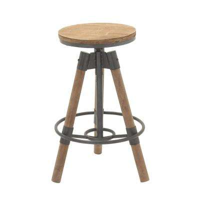 New Traditional Iron and Wood Tripod Bar Stool