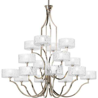 Caress Collection 16-Light Polished Nickel Chandelier with Shade