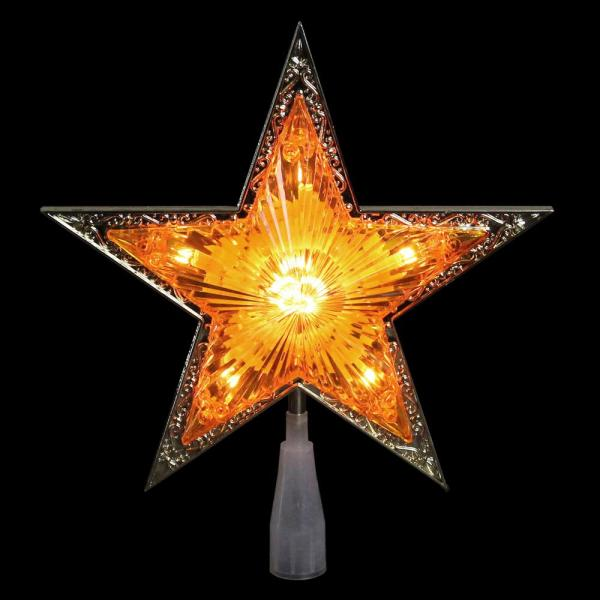 9 in. Gold and Amber Crystal 5 Point Star Christmas Tree Topper
