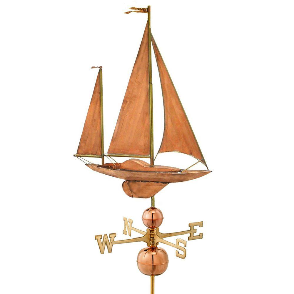 Large Sailboat Weathervane - Pure Copper