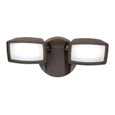 Bronze Outdoor Integrated LED Twin-Head Security Flood Light with 1050 Lumens, 5000K Daylight, Switch Controlled