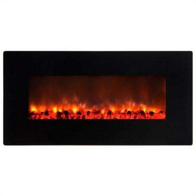 Little Heater 36 in. Wall-Mount Electric Fireplace in Gloss Black