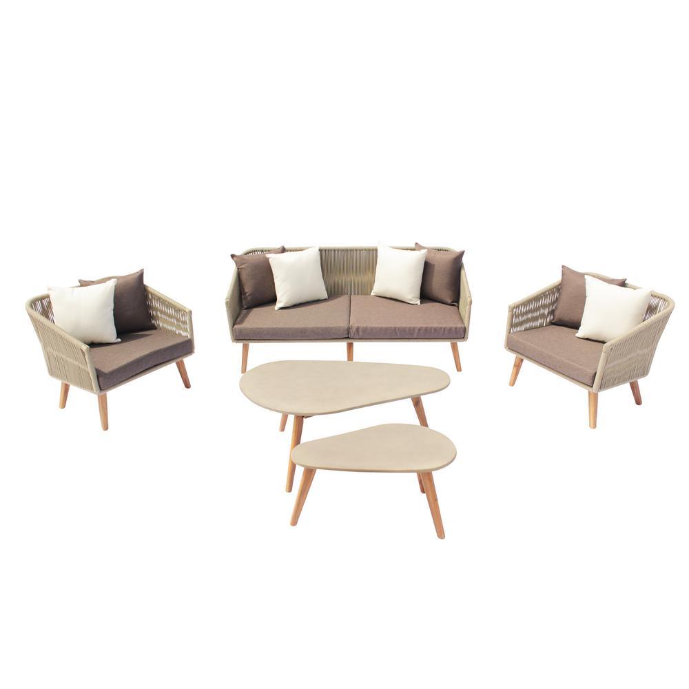 San Luis 5-Piece Aluminum Outdoor Sofa Set with Gray Cushions