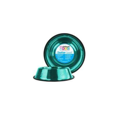1 Cup Stainless Steel Embossed Non-Tip Puppy Bowl in Teal
