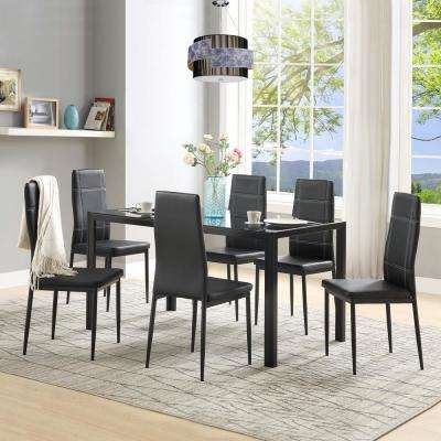7-Piece Black Dining Set Glass Top Metal Table 6-Person Chairs