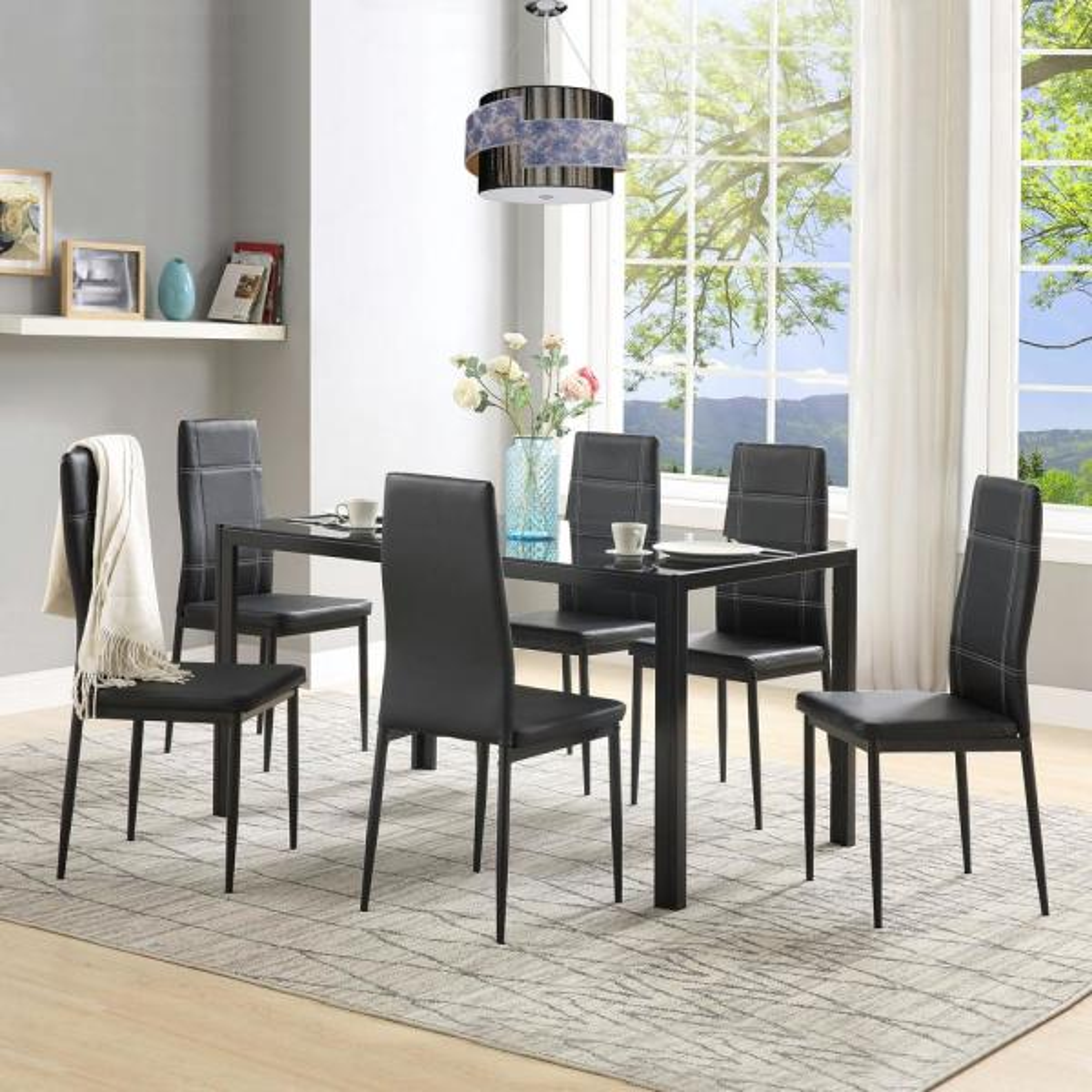 Harper & Bright Designs 7-Piece Black Dining Set Glass Top