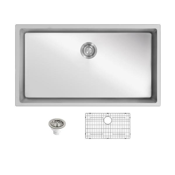 32 in. Undermount Stainless Steel Single Bowl Kitchen Sink with Dish Rack and Strainer