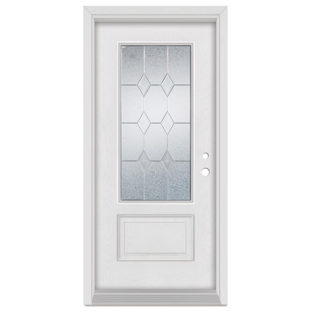 Stanley Doors 33.375 in. x 83 in. Geometric Left-Hand Zinc Finished Fiberglass Mahogany Woodgrain Prehung Front Door Brickmould