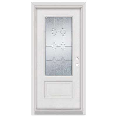33.375 in. x 83 in. Geometric Left-Hand Zinc Finished Fiberglass Mahogany Woodgrain Prehung Front Door Brickmould