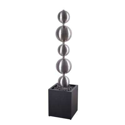 Quentin 51 in. Stainless Steel and Black Floor Fountain
