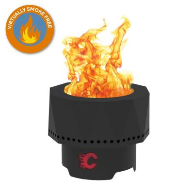 The Ridge NHL 15.7 in. x 12.5 in. Round Steel Wood Pellet Portable Fire Pit with Spark Screen, Poker - Calgary Flames