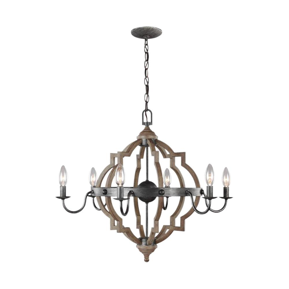 Sea Gull Lighting Socorro 26 in. W. 6-Light Weathered Gray and Distressed Oak Quatrefoil Chandelier with Dimmable Candelabra LED Bulbs