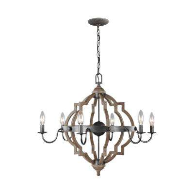 Socorro 26 in. W. 6-Light Weathered Gray and Distressed Oak Quatrefoil Chandelier with Dimmable Candelabra LED Bulbs
